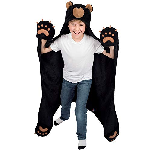 Cinder Black Bear Blanket for Boys and All Kids - Wearable and Hooded Fleece Blankets - Gifts by Wild Things -