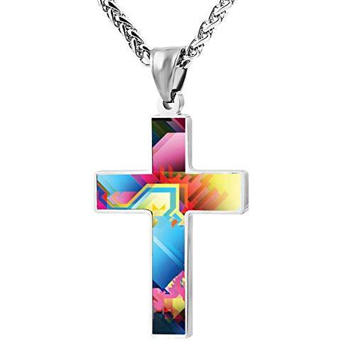 GIDIGOU Polygon Portrait Cross Religious Jewelry Enamel Pendant Stainless Necklace