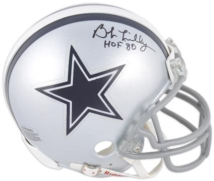 Bob Lilly Dallas Cowboys Autographed Mini Helmet with HOF 80