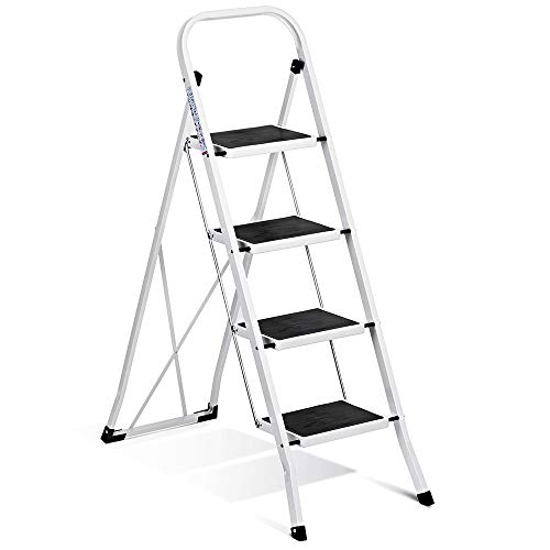 Delxo Folding 4 Step Ladder Ladder with Convenient Handgrip Anti-Slip Sturdy and Wide Pedal 330lbs Portable Steel Step Stool White and Black 4-Feet (WK2040-3)