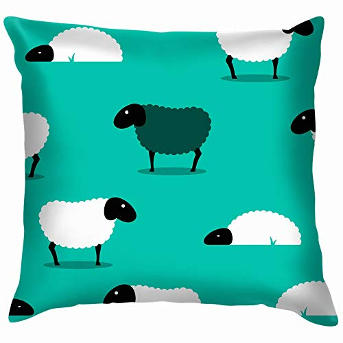 2 D Black Sheep Amongst White Animals Wildlife Nature Throw Pillow Case Cushion Cover Pillowcase Watercolor for Couch 26X26 Inch]()