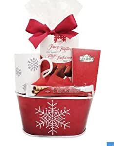 Gift Busket for Christmas with Cup / Tea Set / Truffles / Cream Filled Wafers