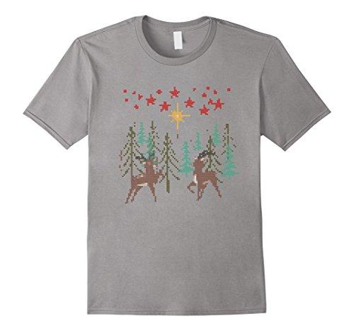 Mens Wood Elf Costume (Mens Cute Ugly Christmas Reindeer Tree Wood Stars Costume T-Shirt 2XL Slate)