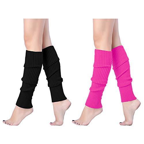 V28Women Winter 80s Eighty's Warm Leg Warmers Knitted Long Socks, 2(Black+Rose)]()
