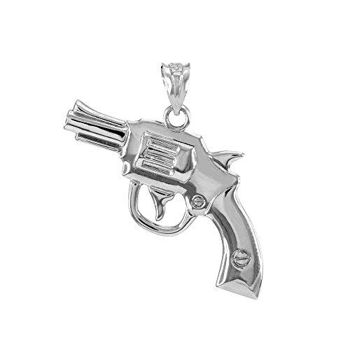 Solid 925 Sterling Silver Gun Revolver Pistol Necklace (Sterling Silver Revolver)