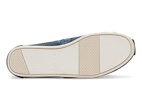 Toms Womens Classic Lino Corda Suola Comoda E Facile Da Montare Slip-on Navy Blanket Stripe Print