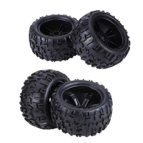 Alomejor RC Car Tires, RC Car Rubber Tires with Hubs Wheel Rims & Tires for HSP/Louise / TRAXXAS/HPI / Savage/Flux / ZD Racing/TM