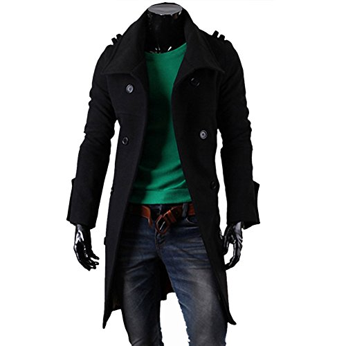 YOUR GALLERY Men's Stylish Double Breasted Slit Back Trench Coat Long Jacket Medium Black