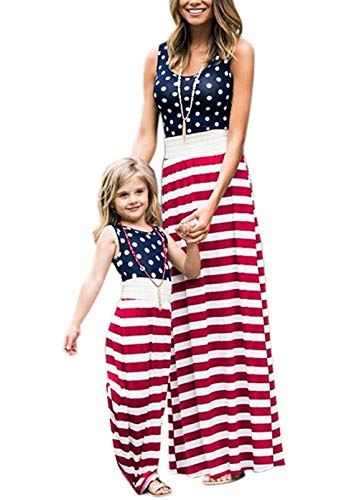 Astellarie Mother and Daughter Matching Clothes,Floral Printed Family Beach Maxi Dress with Pockets for Easter Mother's Day -