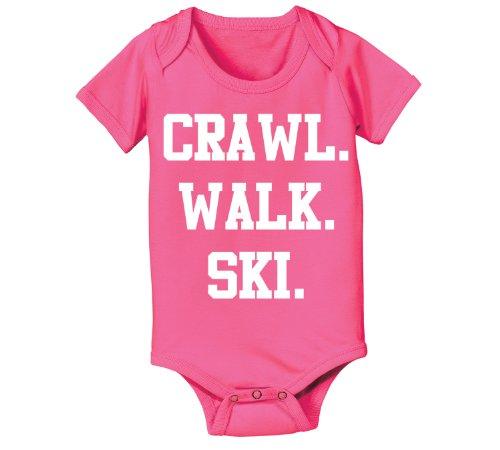 Crawl Walk Ski Snow Sports Funny Future Skier Slopes Instructor Skies Mountain Winter Cool Baby One Piece Newborn - Skiers Warehouse Snow