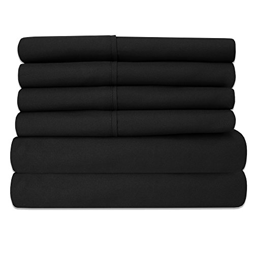 6 Piece 1500 Thread Count  Deep Pocket Bed Sheet Set - 2 EXTRA PILLOW CASES, GREAT VALUE - Full, Black - Deep 2 Piece Set
