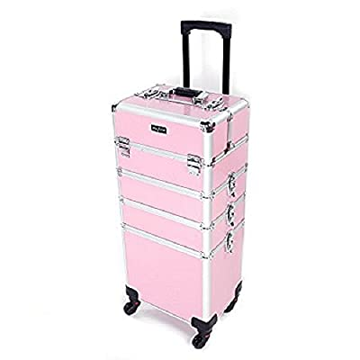 Mefeir 4-in-1 Rolling Train Case Lift Handle,4 Removable Wheels+8 Keys,Aluminum Makeup Cosmetic Trolley Beauty Artist Organizer Box