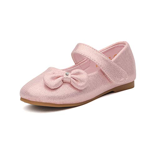 DREAM PAIRS Angel-5 Adorable Mary Jane Side Bow Buckle Strap Ballerina Flat (Toddler/Little Girl) New Pink Suede Size 5