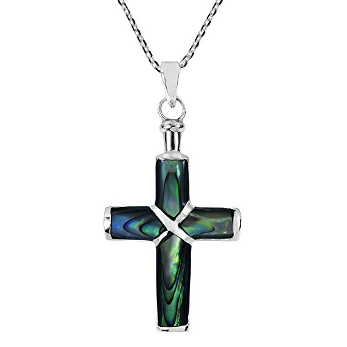 AeraVida Christian Cross Green Rainbow Abalone Shell .925 Sterling Silver Pendant Necklace