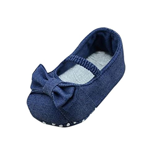 Hot Sale ! Kstare Baby Shoes,Toddler Baby Boy Girl Bowknot Denim Soft Sole Prewalker Anti-slip Crib Shoes First Walkers (4~8 M, Blue)