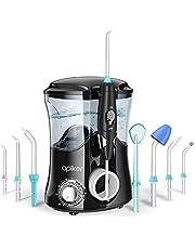 Apiker Elektrische monddouche voor het reinigen van de tanden, professionele waterflosser met traploze waterdrukinstelling 600 ml watertank 8 verschillende functies sproeiers - zwart