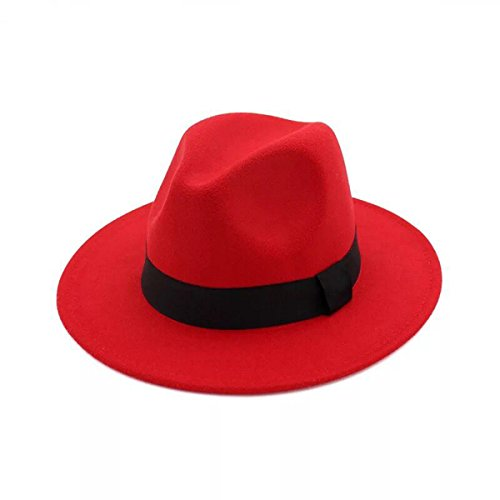JOYEBUY Women Lady Wide Brim Warm Wool Fedora Hat Classic Belt Panama Hat (Red, One Size)