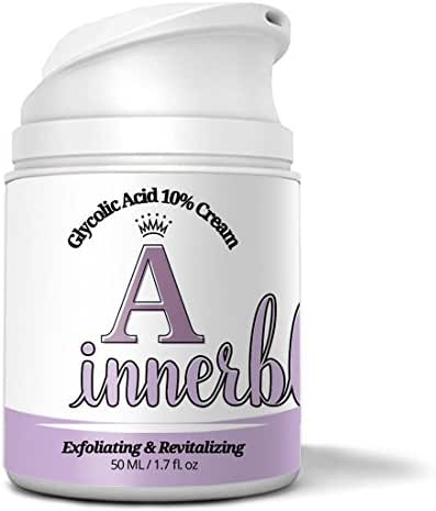 INNERBLOOM Glycolic 10% exfoliating Cream, 1 oz - effective for treating fine lines, acne, blackheads, dullness, oiliness