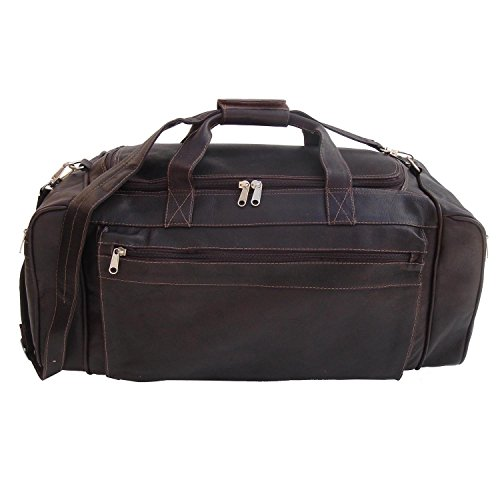 24 Inch Cowhide Leather Duffle Bag (Chocolate Small Rolling Luggage)