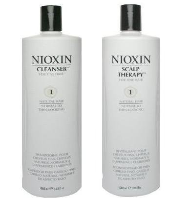 Nioxin System 1 Cleanser & Scalp Therapy Duo Set for Normal to Thin-looking Hair 33.8 oz (1 Liter) by Nioxin® Research Laboratories, Inc. BEAUTY by Nioxin
