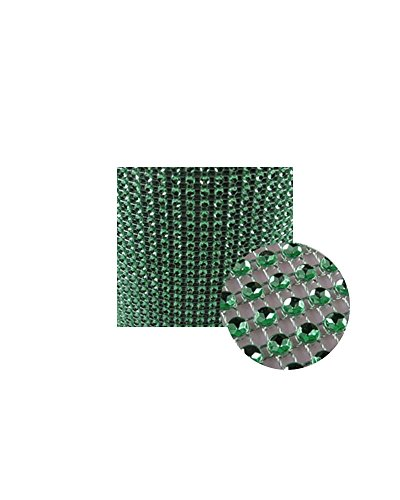 Glittering Faux Diamond Dazzling Faux Rhinestone Mesh Ribbon Wrap for Arts and Crafts Decorations and Cake Decorations, 1 Strip 4-1/2 Inch x 3 Feet - Green by A200012