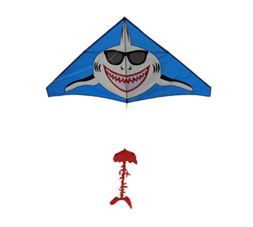 Shark Kite Gangnam Style Giant Delta, String and Handle included, Easy Flyer, Summer fun, beach kite by Weifang New Sky Kites