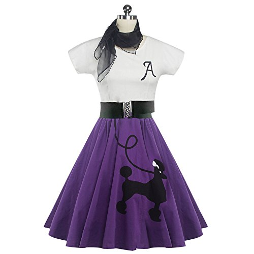 DressLily Women's Scoop-Neck Solid Sleeve Short Fit-and-Flare Dress, Purple, X-Large