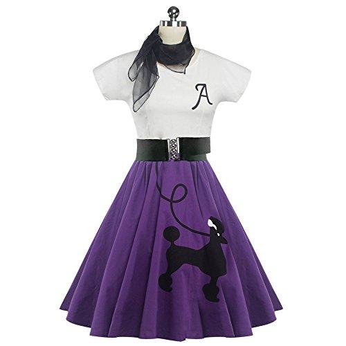DressLily Retro Poodle Print High Waist Skater Vintage Rockabilly Swing Tee Cocktail Dress (Small, -