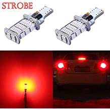 Alla Lighting 2600lm 912 921 Strobe LED Center High-Mounted Light Bulbs | Super Bright 921 LED Bulb High Power 4014 SMD LED T15 906 W16W 921 Bulb | Flashing 3rd Brake Stop Lights | Pure Red (Set of 2)