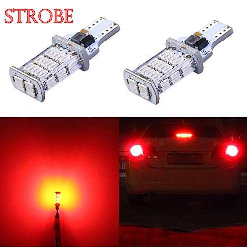 Alla Lighting 2600lm 912 921 Strobe LED Center High-Mounted Light Bulbs | Super Bright 921 LED Bulb High Power 4014 SMD LED T15 906 W16W 921 Bulb | Flashing 3rd Brake Stop Lights | Pure Red (Set of 2) ()