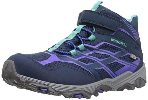 (Merrell Kids' Moab FST Mid a/C Waterproof Sneaker,Navy,3.5 Wide US Big Kid)