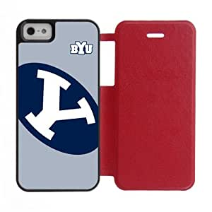 Generic Custom Design Brigham Young University NCAA BYU Cougars Teams Logo Silicone Rubber and Plastic three Color White Black and Red Case Cover for iPhone5 iPhone5S