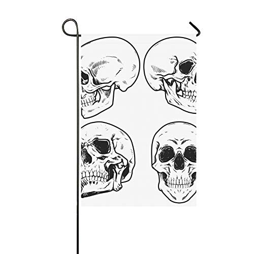 WIEDLKL Home Decorative Outdoor Double Sided Skull Collection Garden Flag House Yard Flag Garden Yard Decorations Seasonal Welcome Outdoor Flag 12x18in Spring Summer Gift ()