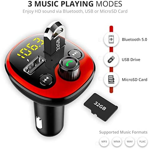 CRUST Car Bluetooth Device with Call Receiver for Music System, FM Transmitter for Hands Free Calls & Music Streaming with Dual USB Fast Charger; MicroSD & USB Audio Playback - Red