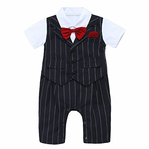 Baby Boy Short Sleeve With Bowtie Checked Gentleman Romper Toddler Outfit Clothing Set 1pcs Jumpsuit (Label 80 / 6-12 Months, Black)