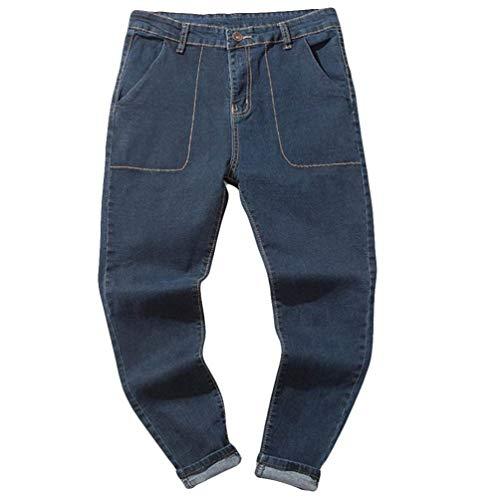 Hombre Jeans Pantalones,Sonnena Vaqueros Ocasionales de algodón de la Vendimia del otoño Denim Cotton Wash Pantalones de Trabajo Jeans Pantalones Larga D