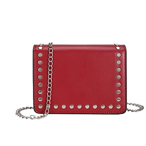 - nikunLONG Women Genuine Leather Rivet Solid Color Crossbody Shoulder Purse Chain Link Bag
