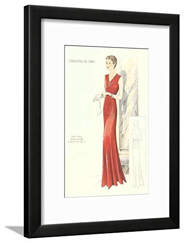 Evening Gown Framed - ArtEdge Haute Couture Evening Gown Black Framed Matted Wall Art Print, 16x12 in