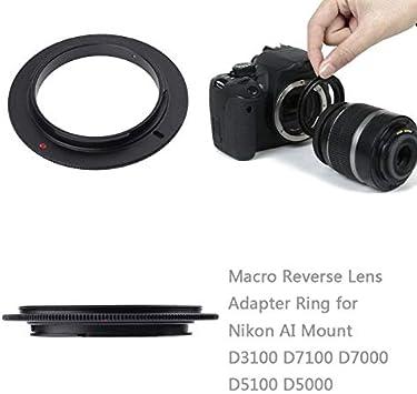 PrinceShop 49 52 55 58 62 67 72 77mm Metal len adapter Macro Reverse Lens Adapter Ring for Nikon AI camera Mount D3100 D7100 D7000 D5100