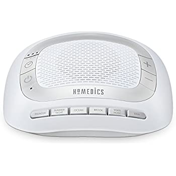 White Noise Sound Machine | Portable Sleep Therapy for Home, Office, Baby & Travel | 6 Relaxing & Soothing Nature Sounds, Battery or Adapter Charging Options, Auto-Off Timer | HoMedics