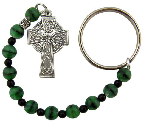 Travel Prayer Keychain - Green Glass Prayer Beads One Decade Rosary with Celtic Cross Key Ring or Bag Clip