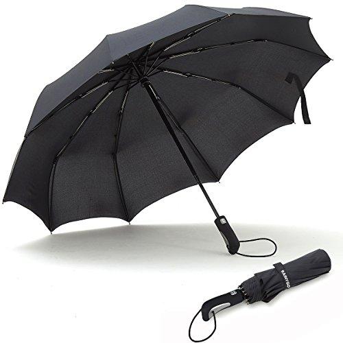 Rainygo Travel Folding Umbrella 210T 10 Ribs Strong Windproof Compact Light Weight Auto Open Close
