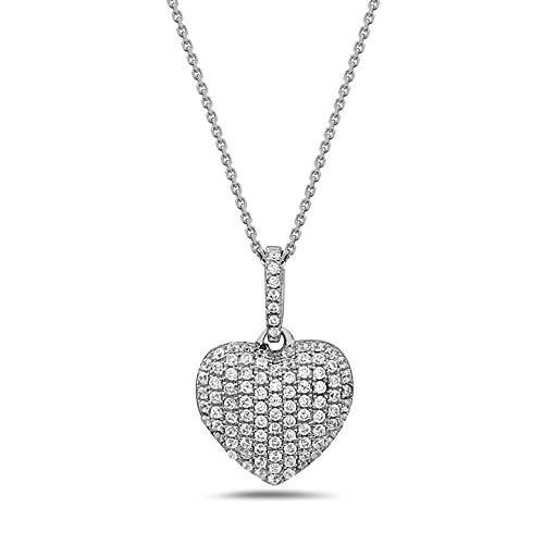 (Crush & Fancy 925 Sterling Silver Heart Shape Pendant Necklaces and German Crystals 16-18 inch Chain Included (CARA))