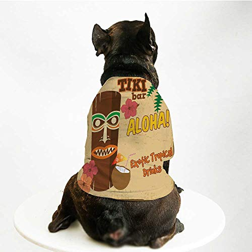 YOLIYANA Tiki Bar Decor Fashion Pet Suit,Polynesian Statue with Tropical Drink Retro Typography Flora Old Aged Design for Cats and Dogs,L
