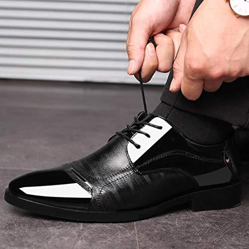 47 38 Zapatos Boda Modernos Zapatos Zapatos Piel Vestir Oxford Zapatos con Hombre Forrados En Negro Cordones de Cordones y de Logobeing wZqxUqHSt