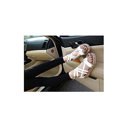 OCHENTA Zapatillas de Moda Sandalias Alpargatas Abierto de Plataforma Tobillo Mujer #07 Blanco