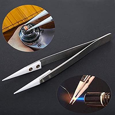 WillBest Stainless Steel Ceramic Tweezers Heat Resistant Non Conductive Ceramic Pointed Tip For DIY Tools