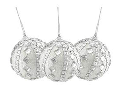 (Northlight 3ct White and Silver Rhinestone and Glitter Shatterproof Christmas Ball Ornaments 3
