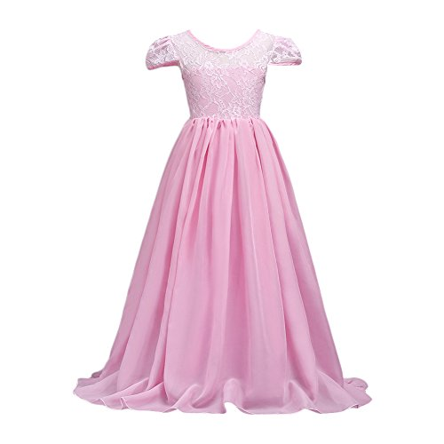 Glamulice Big Girls Lace Chiffon Floor Length Dress Flower Bridesmaid Dresses Dance Party Gown (7-8Y, Pink) (Floor 7 Halloween Special)