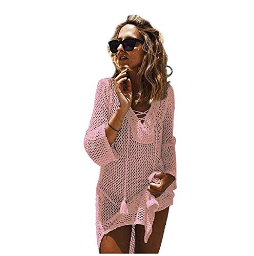 NFASHIONSO Women's Fashion Swimwear Crochet Tunic Cover Up/Beach Dres,Pink2 (Pink Suit Cotton)